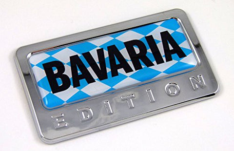 Bavaria German Edition Chrome Emblem with Domed Decal Car Auto Badge 3D
