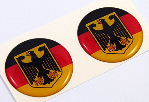"Germany Deutschland flag Round domed decal 2 emblem Car bike stickers 1.45"" PAIR"