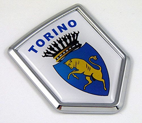 Torino Turin Italy Flag Car Chrome Emblem Decal 3D bike Sticker Crest fiat
