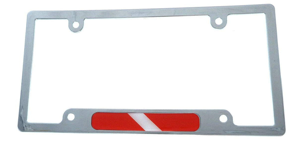 Dive Diving Flag car License Plate Frame Plastic Chrome Plated tag Holder CP08