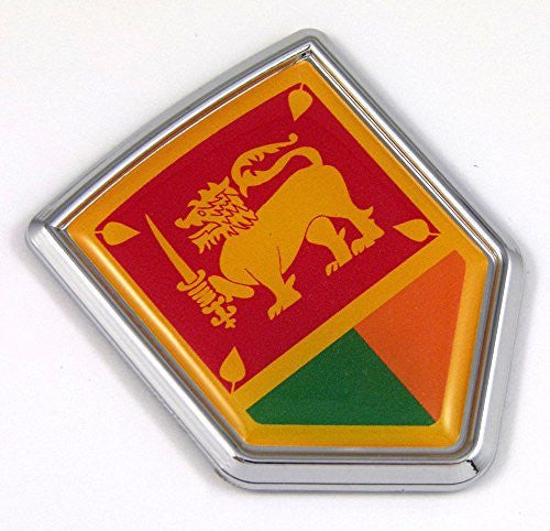 Sri Lanka Flag Car Auto Chrome Emblem 3D Decal Bumper Sticker