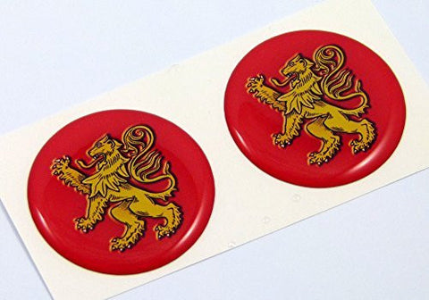 "Holland flag with lion Round domed decal 2 emblem Car bike stickers 1.45"" PAIR"