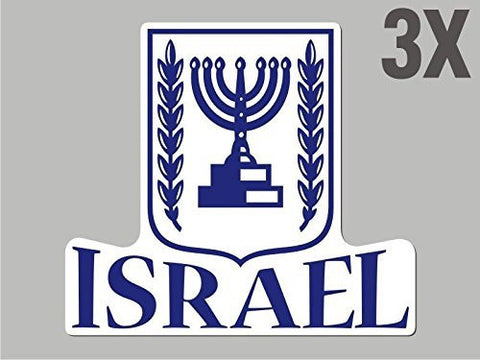 3 Israel shaped stickers flag crest decal bumper car bike emblem vinyl CN018