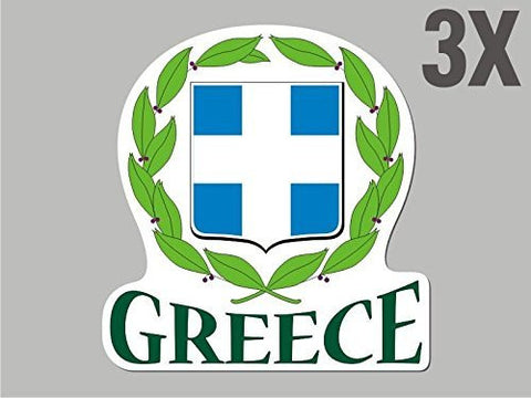 3 Greece shaped stickers flag crest decal bumper car bike emblem vinyl CN013