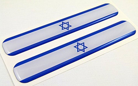 "Israel Israeli Flag Domed Decal Emblem Resin car stickers 5""x 0.82"" 2pc."