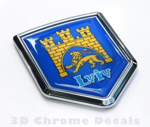Lviv Ukraine Flag Ukrainian Emblem Chrome Car Decal