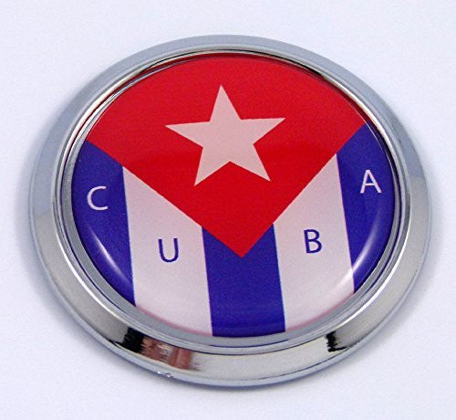 Cuba Cuban Round Flag Car Chrome Decal Emblem bumper Sticker bezel badge