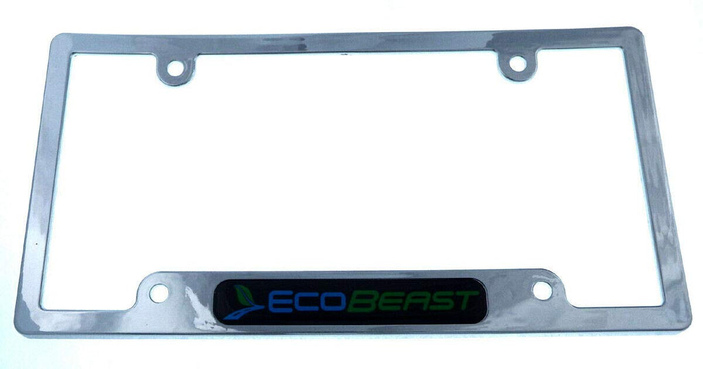 Ecobeast Black Chrome Plated Plastic car License Plate Frame tag Holder CP08