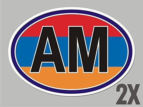 2 Armenia AM OVAL stickers flag decal bumper car bike laptop window door CL003