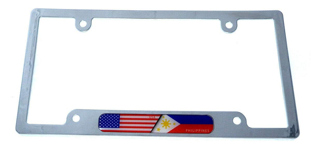 USA Philippines Flag car License Plate Frame Chrome Plated Plastic Holder CP08