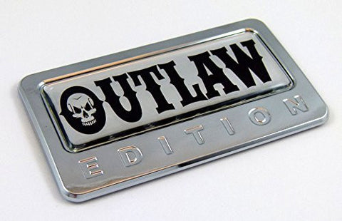 Car Chrome Decals CBEDI-OUTLAW OUTLAW Edition Chrome Emblem with domed decal Car Auto Bike Badge Motorcycle