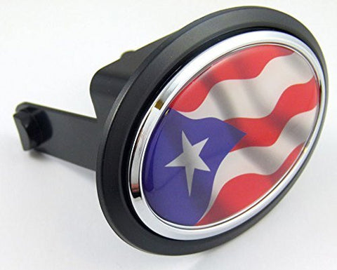 "Puerto Rico Rican Flag Hitch Cover cap 2"" receiver black with chrome & dome"