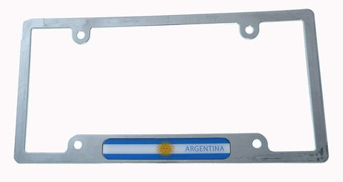Argentina Flag License Plate Frame Plastic Chrome Plated tag Holder Cover CP08