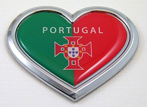 Car Chrome Decals CBHRT170 Portugal HEART Flag Chrome Emblem Car Decal Sticker Badge Bumper Portuguese