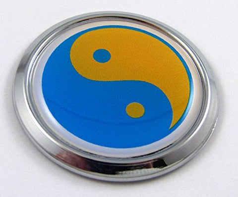 Ukraine Yin Yang Decal Flag Car Chrome Emblem Sticker bumper badge 3D