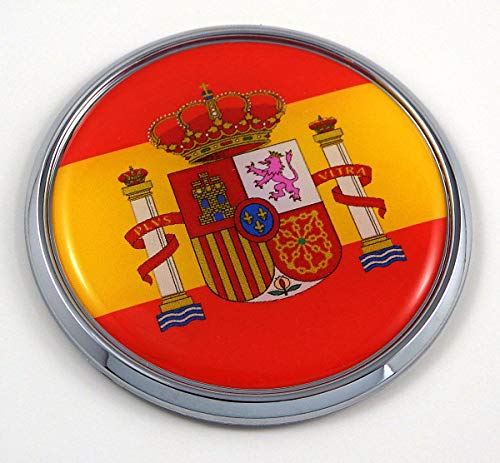 "Spain Spanish Flag 2.75"" Car Chrome Round Emblem Decal 3D Sticker Badge"