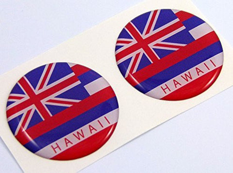 "Hawaii flag Round domed decal 2 emblem Car bike stickers 1.45"" PAIR"