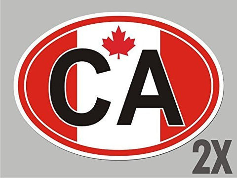 2 Canada CA Canadian OVAL stickers flag decal bumper car bike emblem CL011