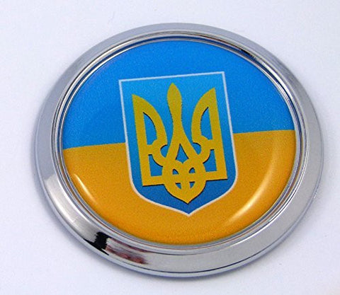 Ukraine Ukrainian Round Flag Car Chrome Decal Emblem bumper Sticker bezel badge