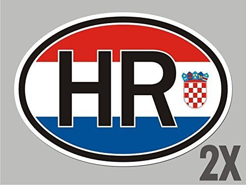 2 Croatia HR Croatian OVAL stickers flag decal bumper car bike emblem CL014