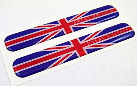 "Great Britain England Flag Domed Decal Emblem Resin car stickers 5""x 0.82"" 2pc."