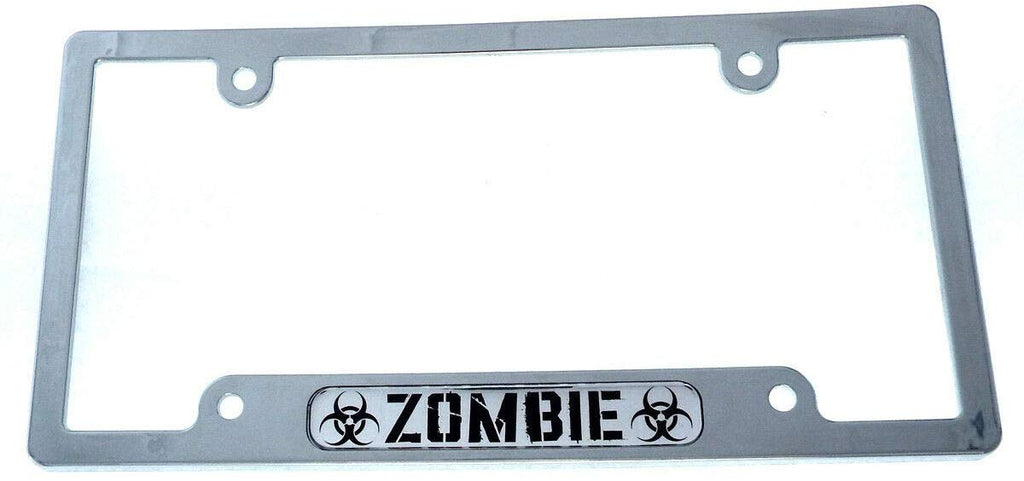 Zombie car License Plate Frame Chrome Plated Plastic tag Holder Cover CP08