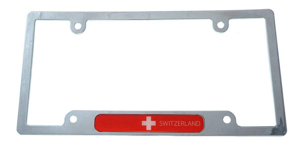 Swiss Switzerland Flag car License Plate Frame Chrome Plated Plastic Holder CP08
