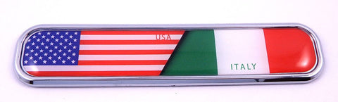 USA/Italy Italia Flag Chrome Emblem 3D auto Decal Sticker car Bike Boat 5.3""