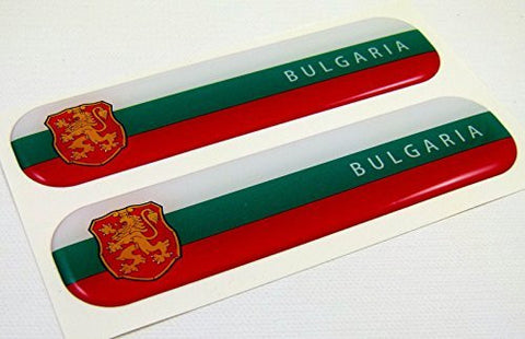 "Bulgaria Flag Domed Decal Emblem Car Flexible Resin Sticker 5"" Set of 2"