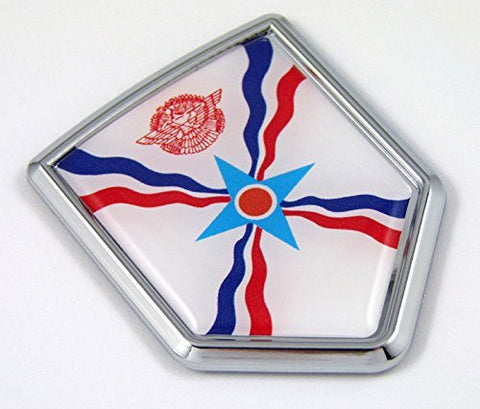 Assyrian flag Chrome Emblem with domed Car Decal Sticker Bike crest