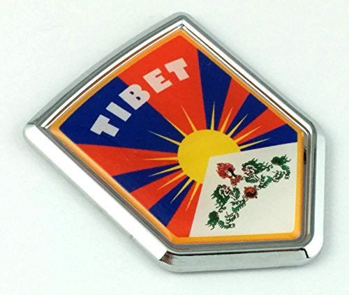 Tibet Tibetan Flag Chrome Emblem Car bike boat Decal decal bumper sticker crest