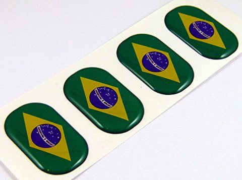 "Brazil midi domed decals flag 4 emblems 1.5"" Car bike laptop phone stickers"