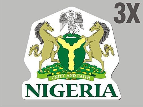 3 Nigeria shaped stickers flag crest decal bumper car bike emblem vinyl CN024