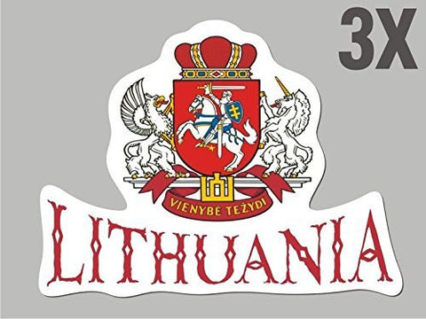 3 Lithuania shaped stickers flag crest decal car bike emblem CN047