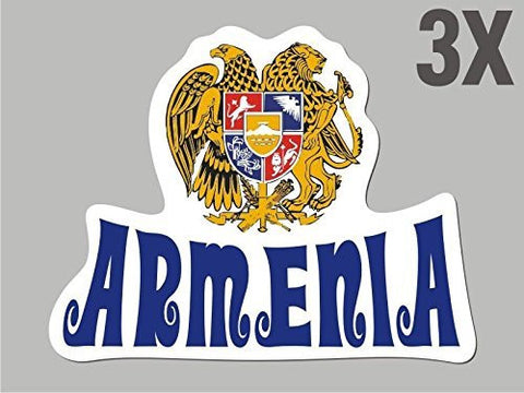 3 Armenia shaped stickers flag crest decal car bike emblem vinyl CN041