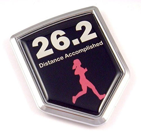 Marathon WOMEN 26.2  Runner Flag Emblem Chrome Car Decal Distance Accomplished