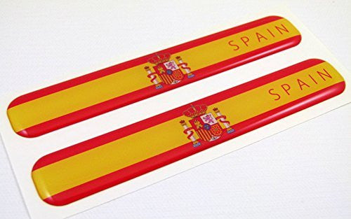 "Spain Spanish Flag Domed Decal Emblem Resin car stickers 5""x 0.82"" 2pc."