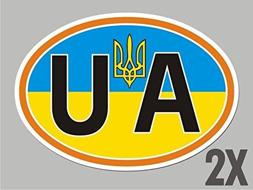 2 Ukraine OVAL stickers Ukrainian Tryzub flag decal bumper car bike laptop CL066