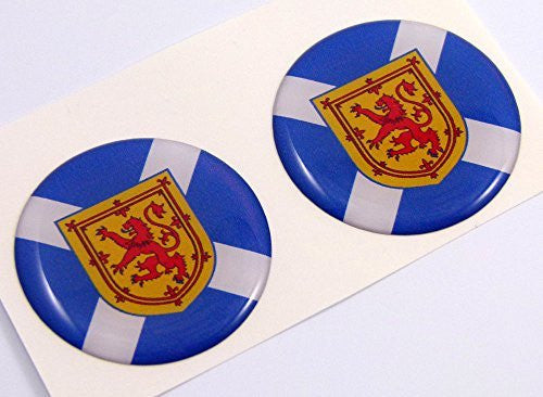 "Scotland Scottish flag Round domed decal 2 emblem Car bike stickers 1.45"" PAIR"