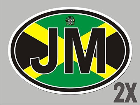 2 Jamaica JM OVAL stickers flag decal bumper car bike emblem vinyl sticker CL032