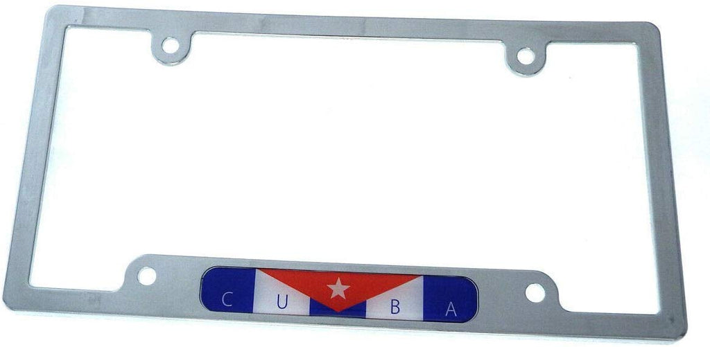 Cuba Cuban Flag car License Plate Frame Plastic Chrome Plated tag Holder CP08