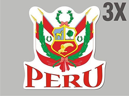 3 Peru shaped stickers flag crest decal bumper car bike emblem vinyl CN025