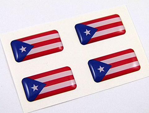 Puerto Rico mini domed Flag decals 4 emblems Car bike boat. Stickers