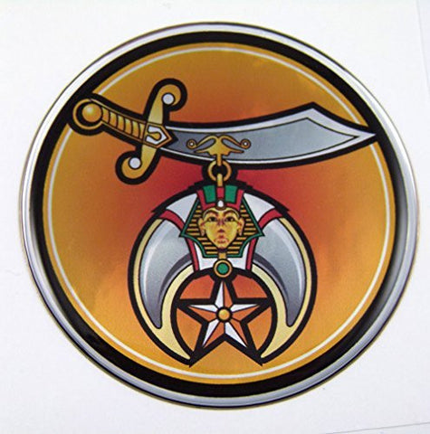 Shriners Emblem domed decal on chrome milar Bike Motorcycle Car 62mm