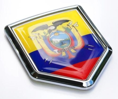 Car Chrome Decals CBSHD061 Ecuador Flag Emblem Chrome Car Decal Bumper Sticker