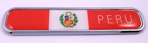 Peru Peruvian Flag Chrome Emblem 3D auto Decal Sticker car Bike Boat 5.3""