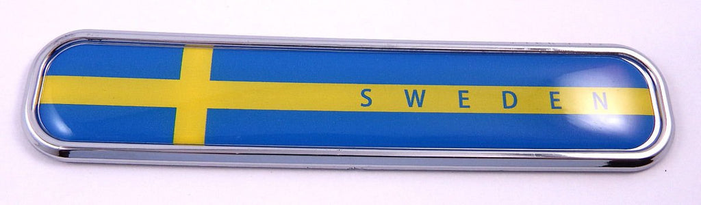 Sweden Swedish Flag Chrome Emblem 3D auto Decal Sticker car Bike Boat 5.3""
