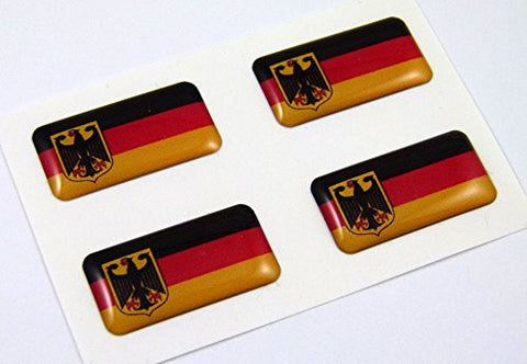 Germany Deutschland mini domed Flag decals 4 emblems Car auto bike boat stickers