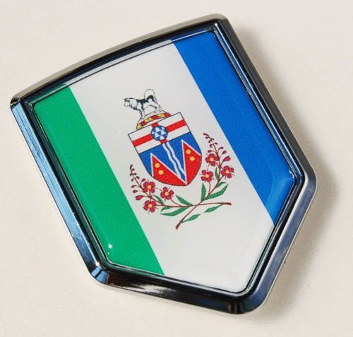 Yukon Canada Flag Chrome Emblem Car Decal Sticker