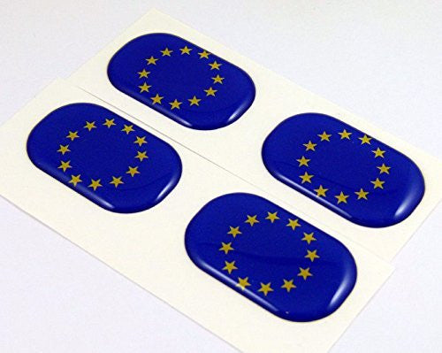 "European Union EU midi domed decals flag 4 emblems 1.5"" Car bike stickers"